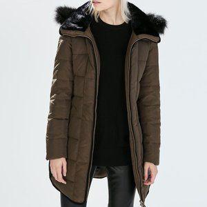 Zara Water-Repellent Hooded Down Puffer jacket